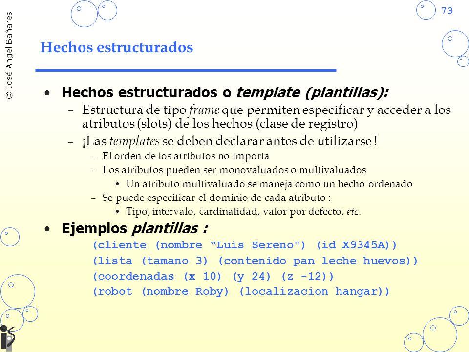 73 © José Angel Bañares Hechos estructurados Hechos estructurados o template (plantillas): –Estructura de tipo frame que permiten especificar y accede