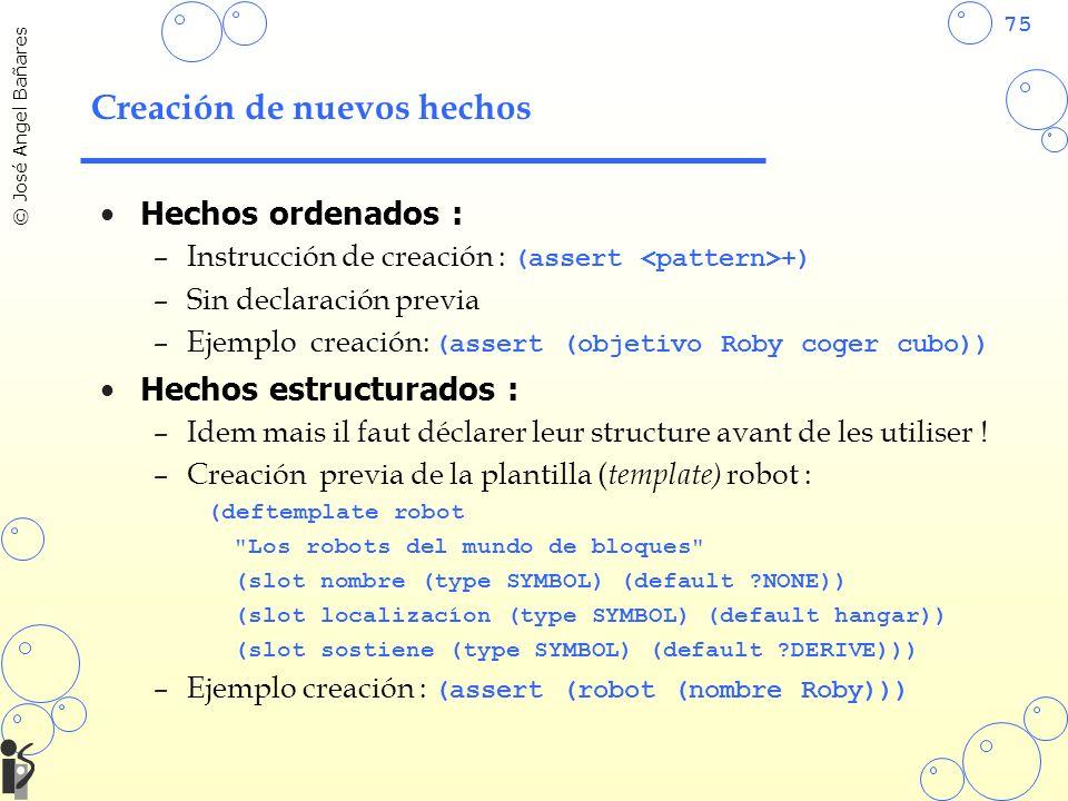 75 © José Angel Bañares Creación de nuevos hechos Hechos ordenados : –Instrucción de creación : (assert +) –Sin declaración previa –Ejemplo creación: