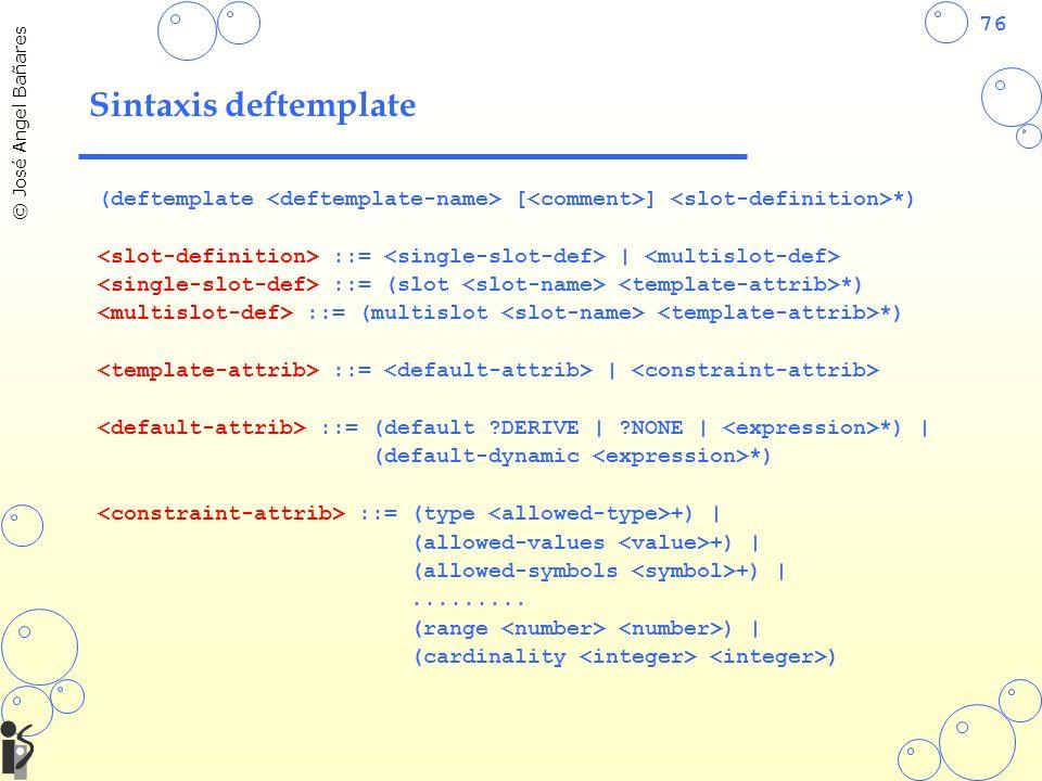 76 © José Angel Bañares Sintaxis deftemplate (deftemplate [ ] *) ::= | ::= (slot *) ::= (multislot *) ::= | ::= (default ?DERIVE | ?NONE | *) | (default-dynamic *) ::= (type +) | (allowed-values +) | (allowed-symbols +) |.........
