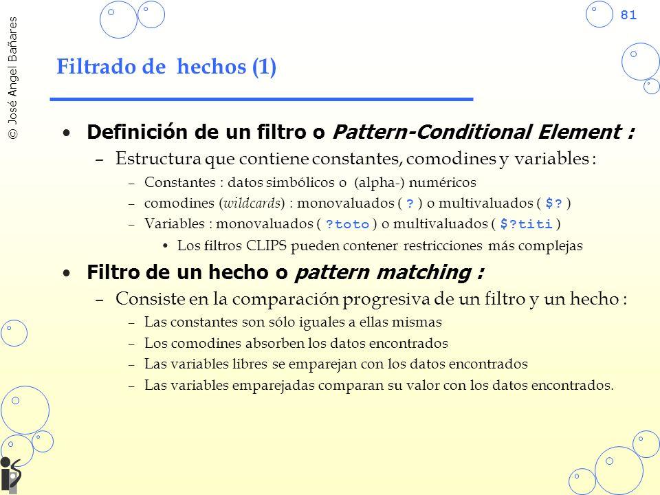81 © José Angel Bañares Filtrado de hechos (1) Definición de un filtro o Pattern-Conditional Element : –Estructura que contiene constantes, comodines y variables : –Constantes : datos simbólicos o (alpha-) numéricos –comodines ( wildcards ) : monovaluados ( .