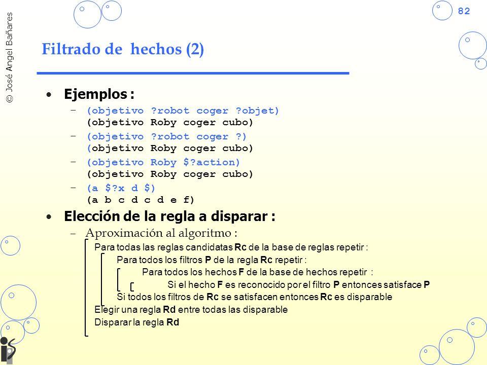 82 © José Angel Bañares Filtrado de hechos (2) Ejemplos : –(objetivo ?robot coger ?objet) (objetivo Roby coger cubo) –(objetivo ?robot coger ?) (objetivo Roby coger cubo) –(objetivo Roby $?action) (objetivo Roby coger cubo) –(a $?x d $) (a b c d c d e f) Elección de la regla a disparar : –Aproximación al algoritmo : Para todas las reglas candidatas Rc de la base de reglas repetir : Para todos los filtros P de la regla Rc repetir : Para todos los hechos F de la base de hechos repetir : Si el hecho F es reconocido por el filtro P entonces satisface P Si todos los filtros de Rc se satisfacen entonces Rc es disparable Elegir una regla Rd entre todas las disparable Disparar la regla Rd