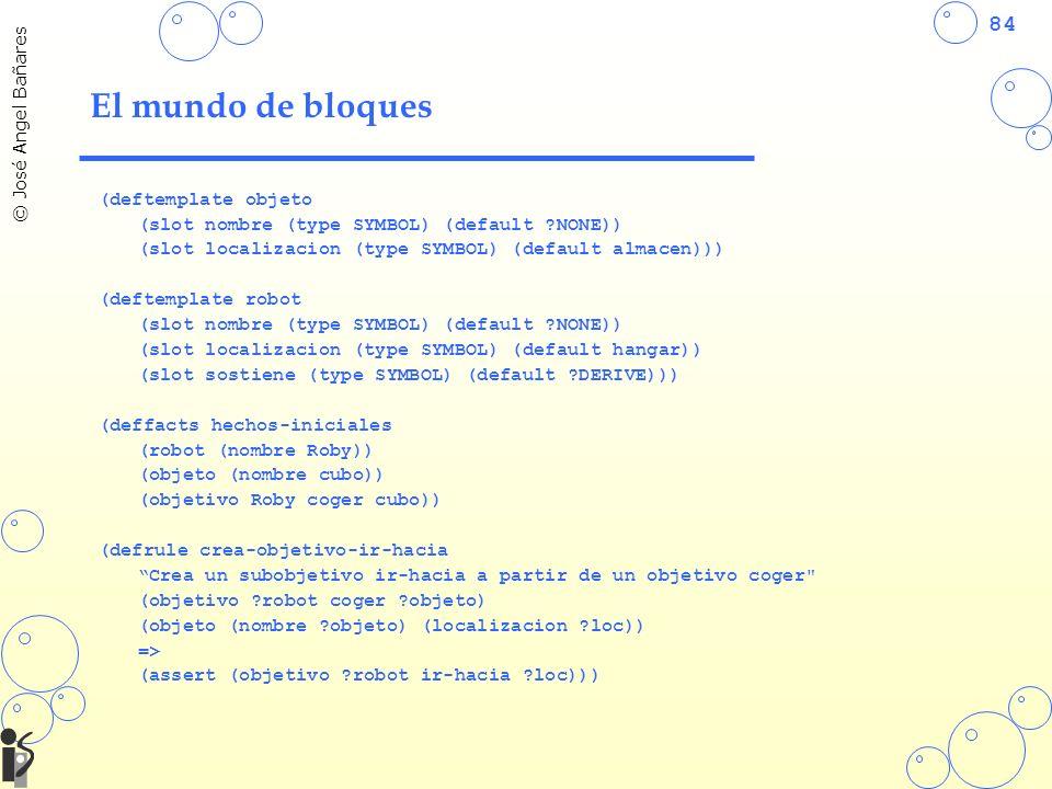 84 © José Angel Bañares El mundo de bloques (deftemplate objeto (slot nombre (type SYMBOL) (default ?NONE)) (slot localizacion (type SYMBOL) (default almacen))) (deftemplate robot (slot nombre (type SYMBOL) (default ?NONE)) (slot localizacion (type SYMBOL) (default hangar)) (slot sostiene (type SYMBOL) (default ?DERIVE))) (deffacts hechos-iniciales (robot (nombre Roby)) (objeto (nombre cubo)) (objetivo Roby coger cubo)) (defrule crea-objetivo-ir-hacia Crea un subobjetivo ir-hacia a partir de un objetivo coger (objetivo ?robot coger ?objeto) (objeto (nombre ?objeto) (localizacion ?loc)) => (assert (objetivo ?robot ir-hacia ?loc)))