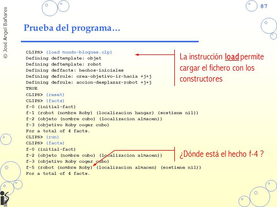 87 © José Angel Bañares Prueba del programa… CLIPS> (load mundo-bloques.clp) Defining deftemplate: objet Defining deftemplate: robot Defining deffacts: hechos-iniciales Defining defrule: crea-objetivo-ir-hacia +j+j Defining defrule: accion-desplazar-robot +j+j TRUE CLIPS> (reset) CLIPS> (facts) f-0 (initial-fact) f-1 (robot (nombre Roby) (localizacion hangar) (sostiene nil)) f-2 (objeto (nombre cubo) (localizacion almacen)) f-3 (objetivo Roby coger cubo) For a total of 4 facts.