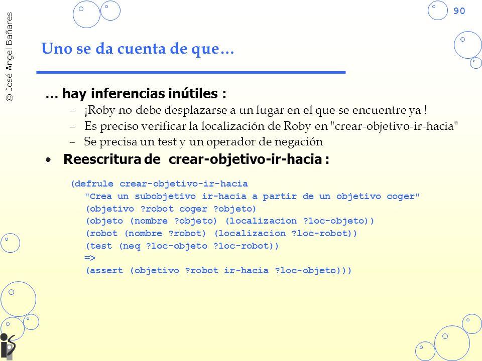 90 © José Angel Bañares Uno se da cuenta de que… … hay inferencias inútiles : –¡Roby no debe desplazarse a un lugar en el que se encuentre ya ! –Es pr