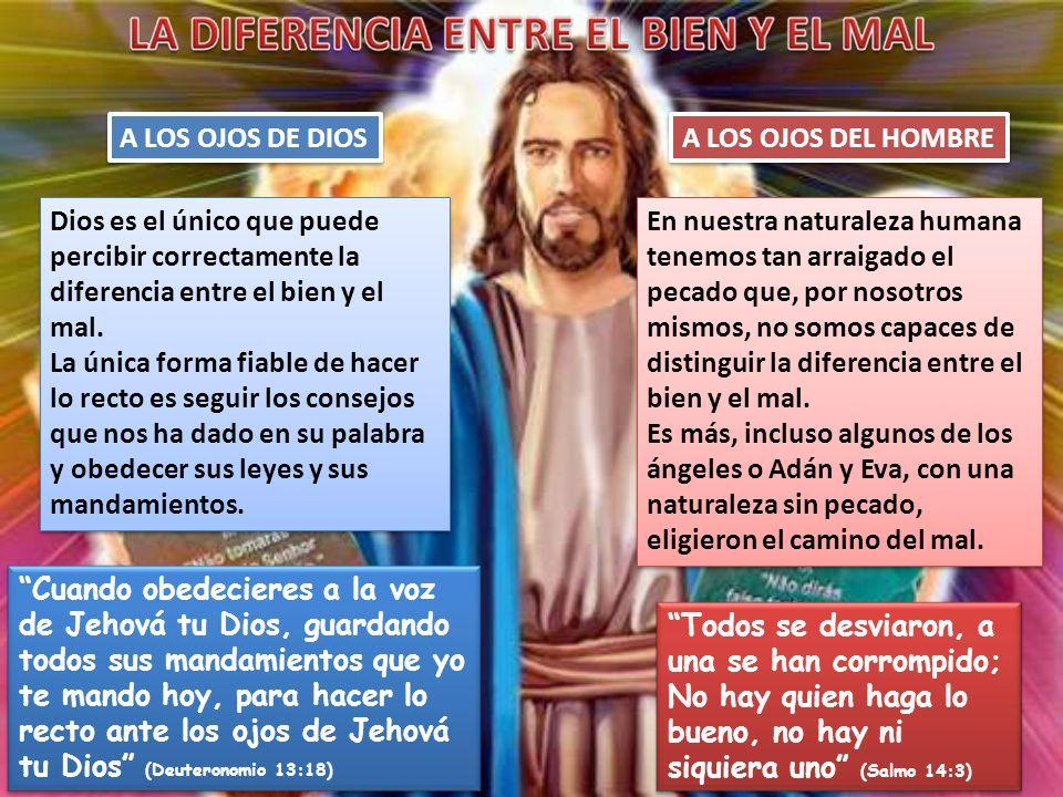 A LOS OJOS DE DIOS Dios es el único que puede percibir correctamente la diferencia entre el bien y el mal. La única forma fiable de hacer lo recto es