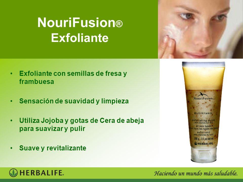 NouriFusion ® Exfoliante Exfoliante con semillas de fresa y frambuesa Sensación de suavidad y limpieza Utiliza Jojoba y gotas de Cera de abeja para su