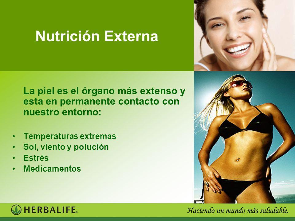 Nutrición Externa La piel es el órgano más extenso y esta en permanente contacto con nuestro entorno: Temperaturas extremas Sol, viento y polución Est