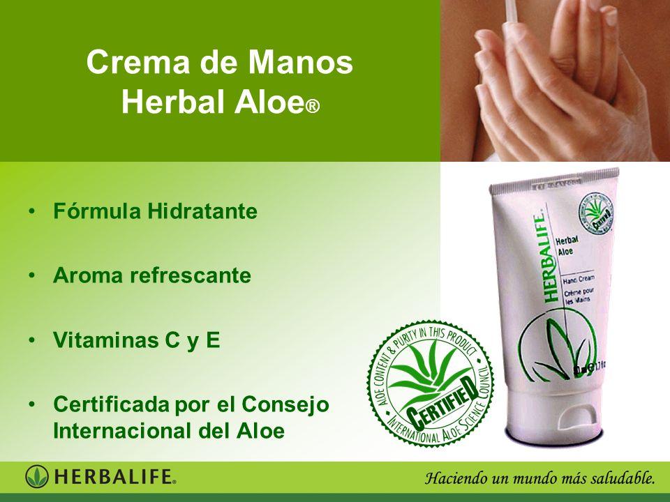 Crema de Manos Herbal Aloe ® Fórmula Hidratante Aroma refrescante Vitaminas C y E Certificada por el Consejo Internacional del Aloe