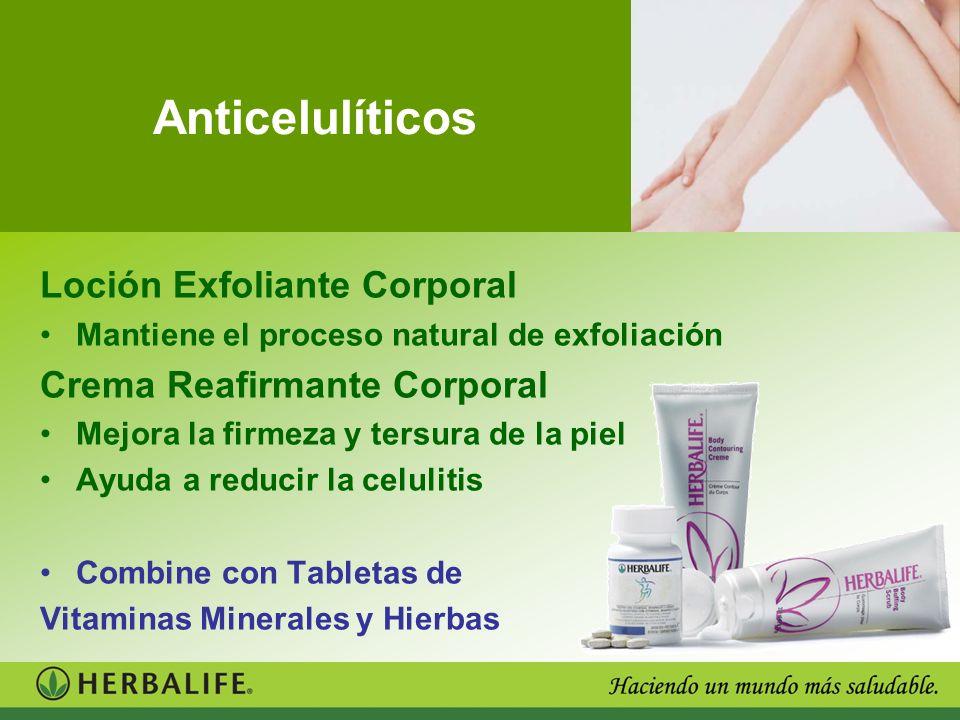 Anticelulíticos Loción Exfoliante Corporal Mantiene el proceso natural de exfoliación Crema Reafirmante Corporal Mejora la firmeza y tersura de la pie
