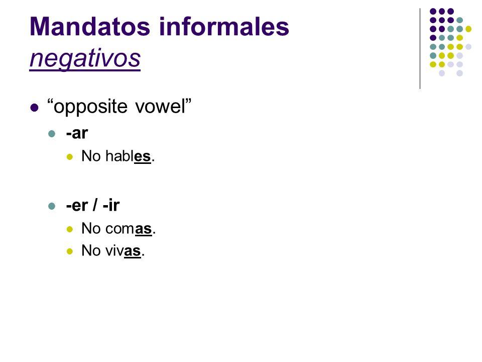 Mandatos informales negativos opposite vowel -ar No hables. -er / -ir No comas. No vivas.