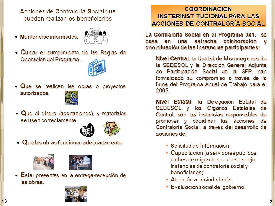 COORDINACIÓN INSTERINSTITUCIONAL PARA LAS ACCIONES DE CONTRALORÍA SOCIAL La Contraloría Social en el Programa 3x1, se basa en una estrecha colaboració