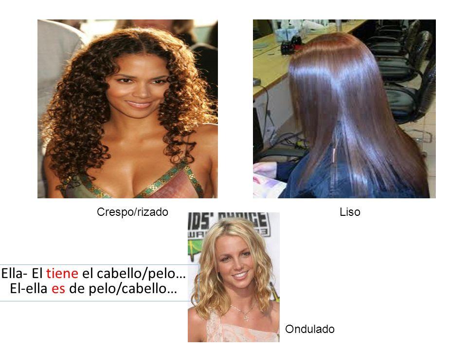 Crespo/rizadoLiso Ondulado Ella- El tiene el cabello/pelo… El-ella es de pelo/cabello…