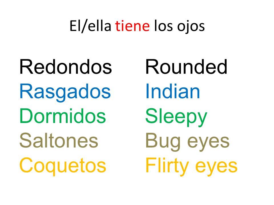 Redondos Rasgados Dormidos Saltones Coquetos Rounded Indian Sleepy Bug eyes Flirty eyes El/ella tiene los ojos