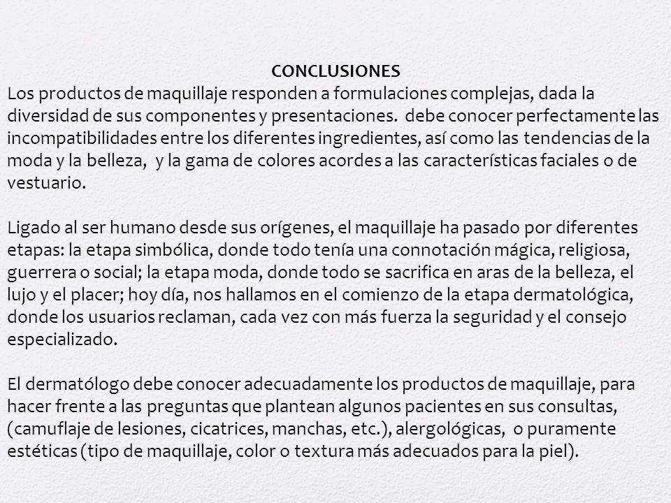 CONCLUSIONES Los productos de maquillaje responden a formulaciones complejas, dada la diversidad de sus componentes y presentaciones. debe conocer per