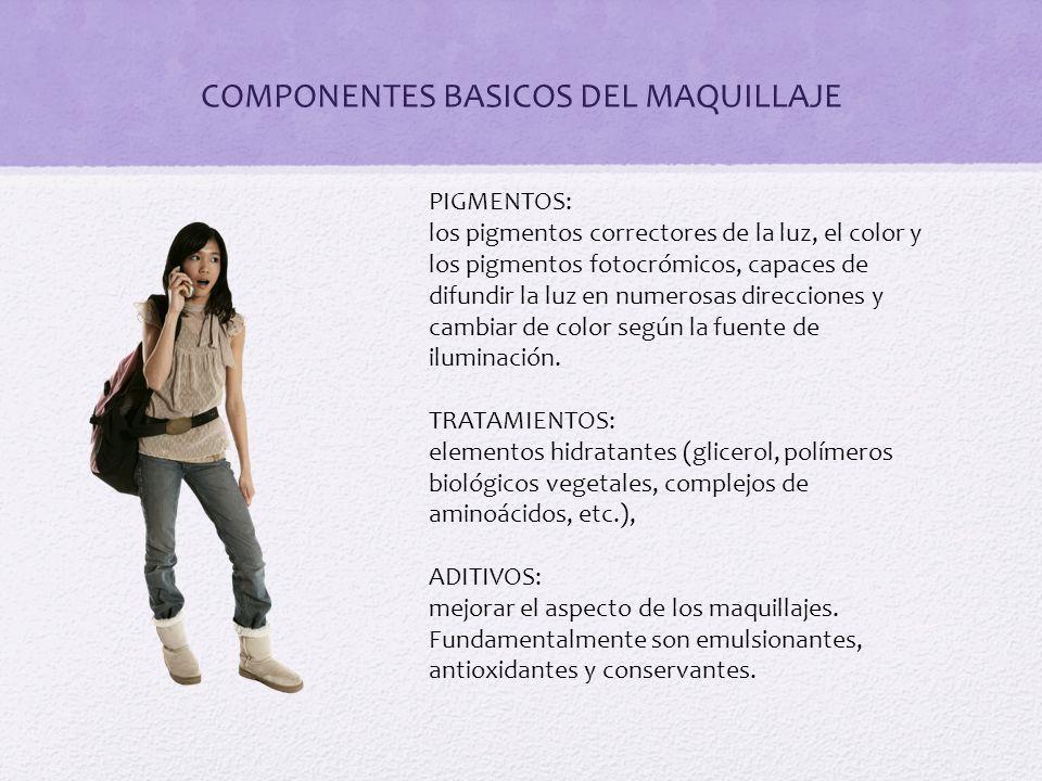 COMPONENTES BASICOS DEL MAQUILLAJE PIGMENTOS: los pigmentos correctores de la luz, el color y los pigmentos fotocrómicos, capaces de difundir la luz e