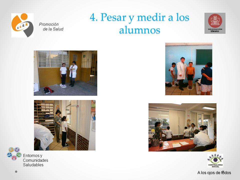 Promoción de la Salud Entornos y Comunidades Saludables A los ojos de todos 4. Pesar y medir a los alumnos
