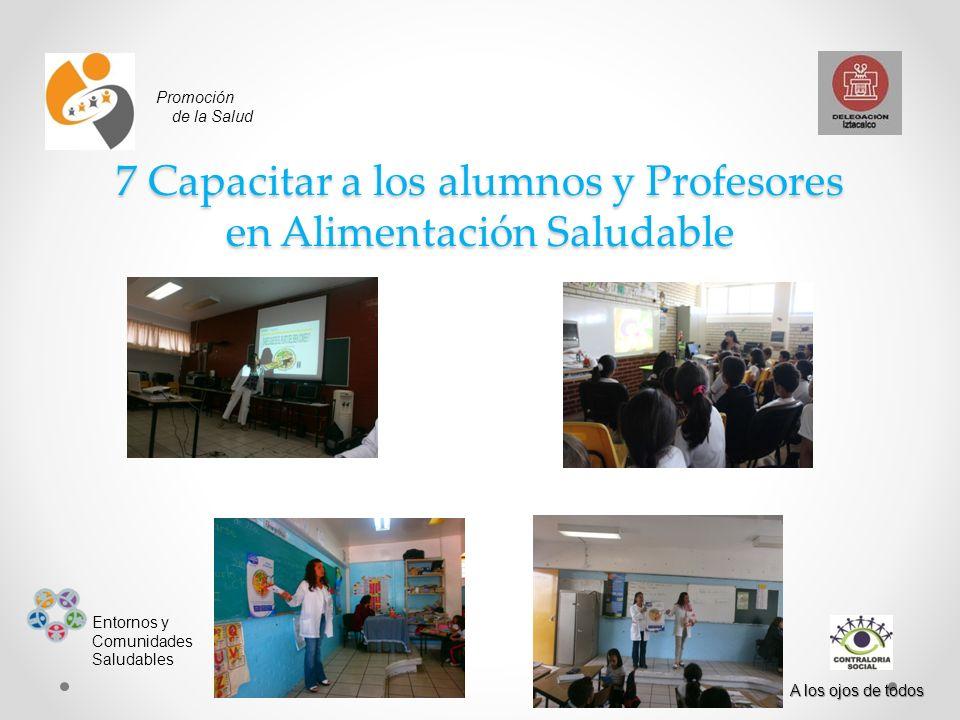 Promoción de la Salud Entornos y Comunidades Saludables A los ojos de todos 7 Capacitar a los alumnos y Profesores en Alimentación Saludable
