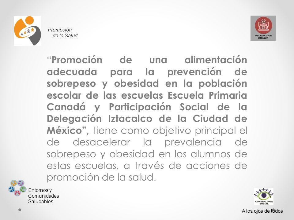Promoción de la Salud Entornos y Comunidades Saludables A los ojos de todos Promoción de una alimentación adecuada para la prevención de sobrepeso y o