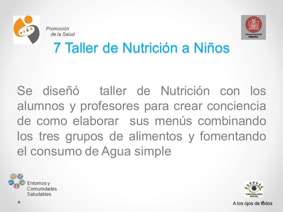 Promoción de la Salud Entornos y Comunidades Saludables A los ojos de todos 7 Taller de Nutrición a Niños Se diseñó taller de Nutrición con los alumno