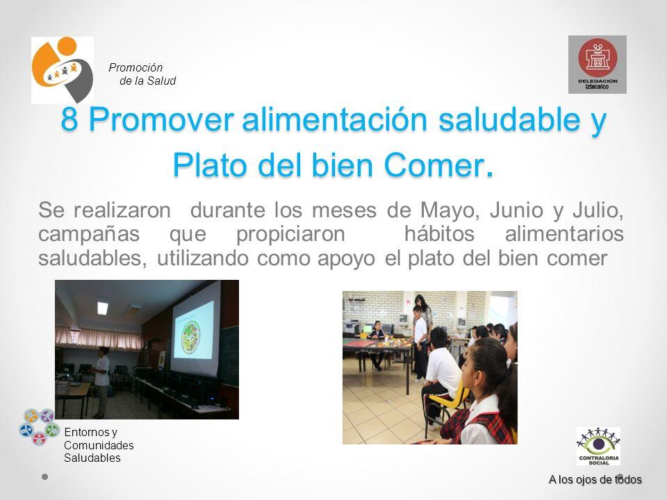 Promoción de la Salud Entornos y Comunidades Saludables A los ojos de todos 8 Promover alimentación saludable y Plato del bien Comer. Se realizaron du