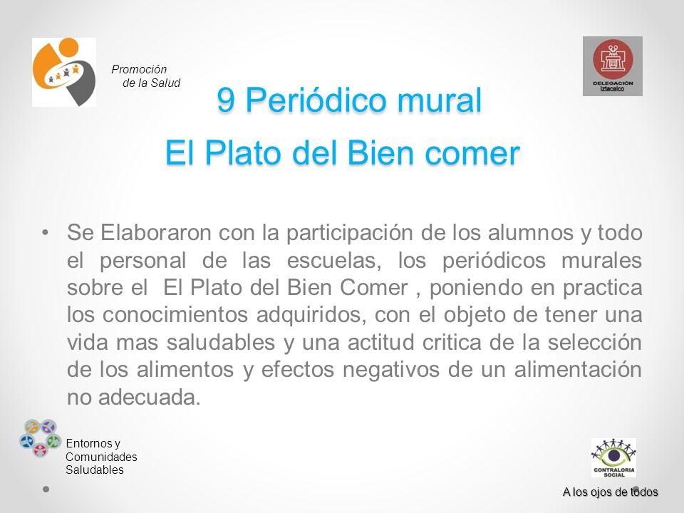 Promoción de la Salud Entornos y Comunidades Saludables A los ojos de todos 9 Periódico mural El Plato del Bien comer 9 Periódico mural El Plato del B