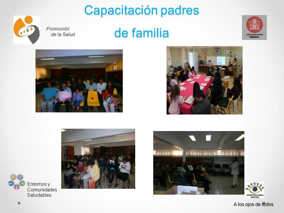 Promoción de la Salud Entornos y Comunidades Saludables A los ojos de todos Capacitación padres de familia
