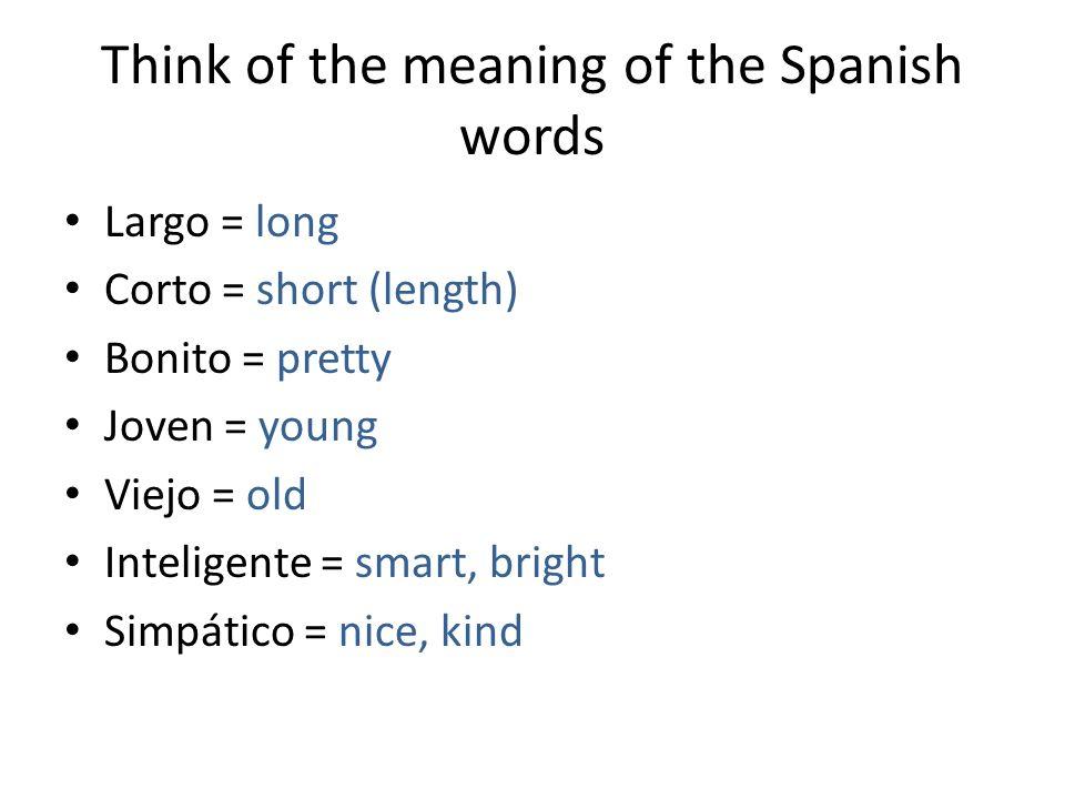 Think of the meaning of the Spanish words Flaco, delgado = Gordo = Atlético = Antipático = Serio = Tonto = Moreno =