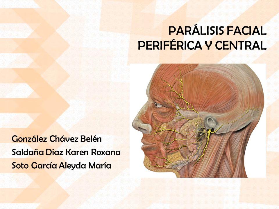 PARÁLISIS FACIAL PERIFÉRICA Y CENTRAL González Chávez Belén Saldaña Díaz Karen Roxana Soto García Aleyda María