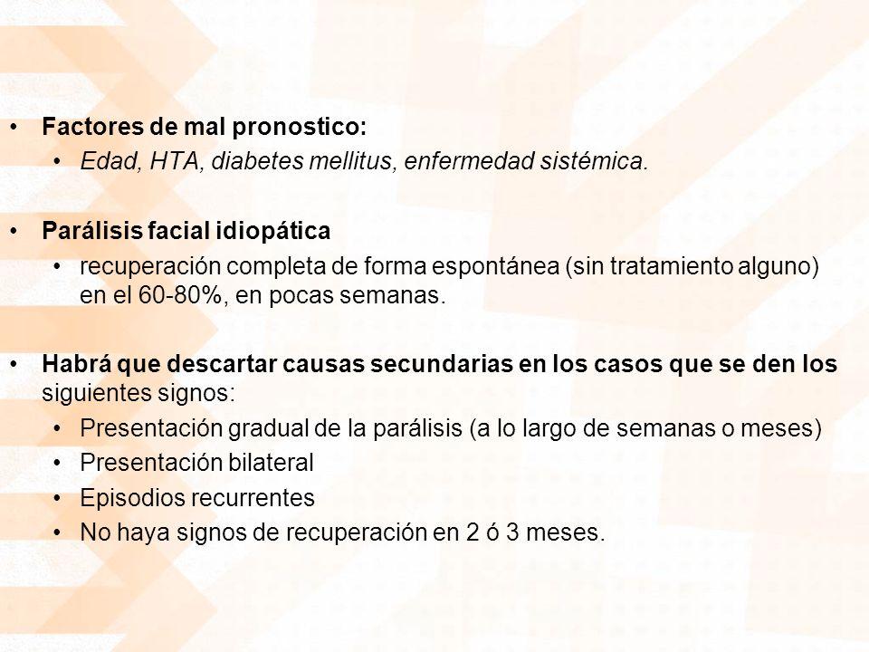 Factores de mal pronostico: Edad, HTA, diabetes mellitus, enfermedad sistémica. Parálisis facial idiopática recuperación completa de forma espontánea