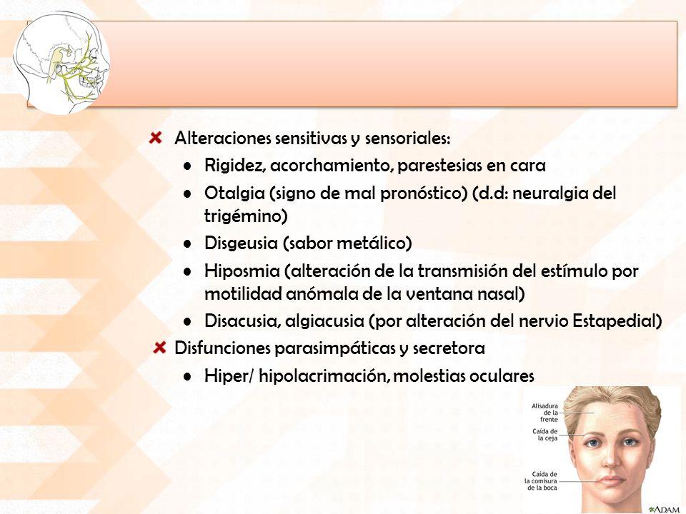 Alteraciones sensitivas y sensoriales: Rigidez, acorchamiento, parestesias en cara Otalgia (signo de mal pronóstico) (d.d: neuralgia del trigémino) Disgeusia (sabor metálico) Hiposmia (alteración de la transmisión del estímulo por motilidad anómala de la ventana nasal) Disacusia, algiacusia (por alteración del nervio Estapedial) Disfunciones parasimpáticas y secretora Hiper/ hipolacrimación, molestias oculares
