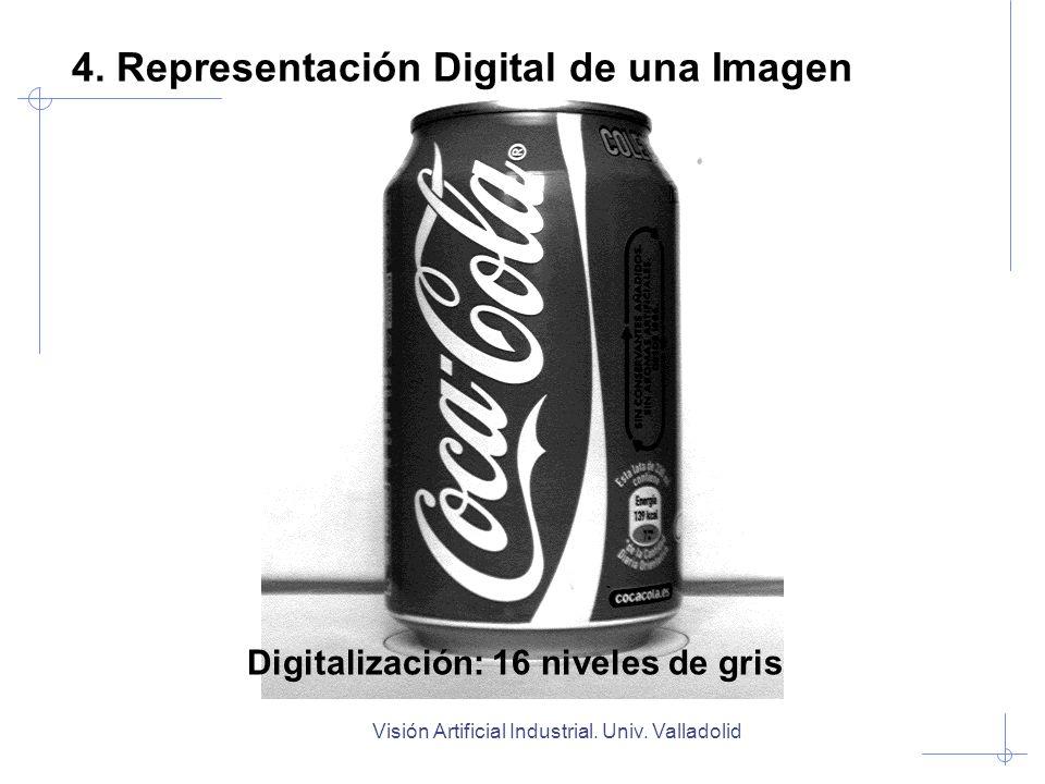 Visión Artificial Industrial. Univ. Valladolid Digitalización: 16 niveles de gris 4. Representación Digital de una Imagen