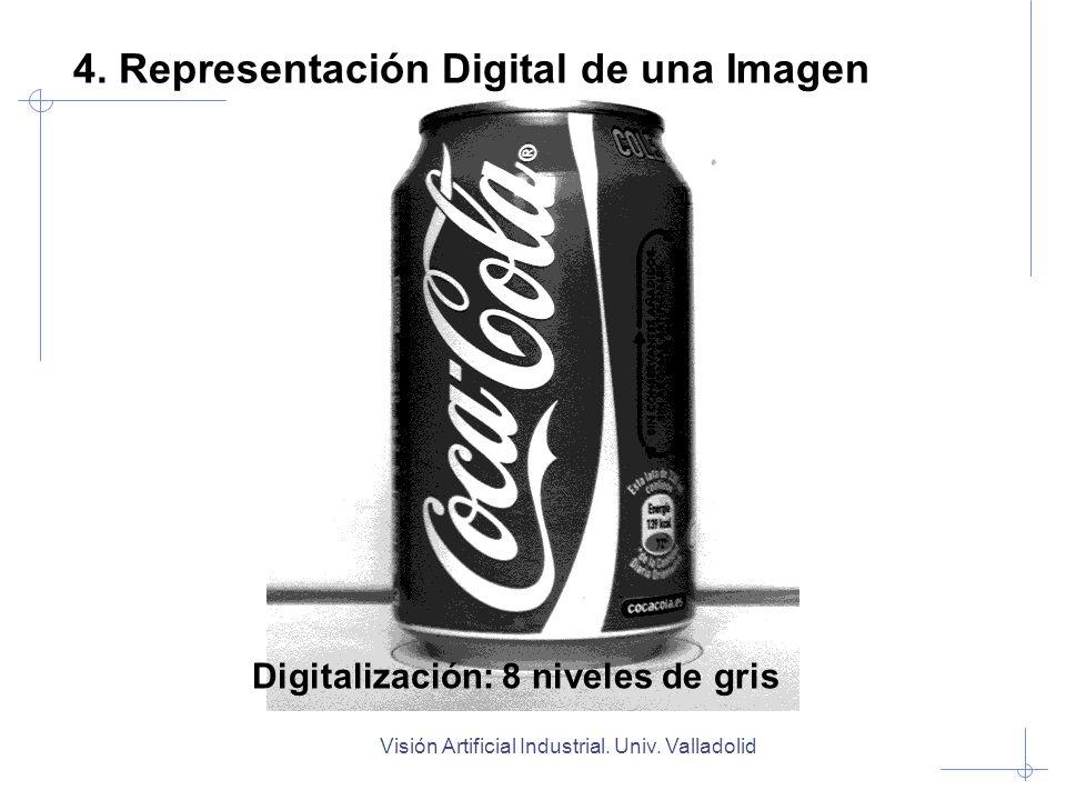 Visión Artificial Industrial. Univ. Valladolid Digitalización: 8 niveles de gris 4. Representación Digital de una Imagen