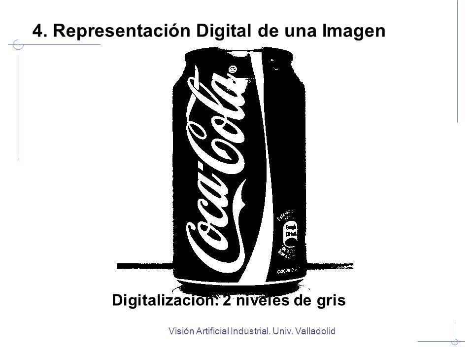 Visión Artificial Industrial. Univ. Valladolid Digitalización: 2 niveles de gris 4. Representación Digital de una Imagen