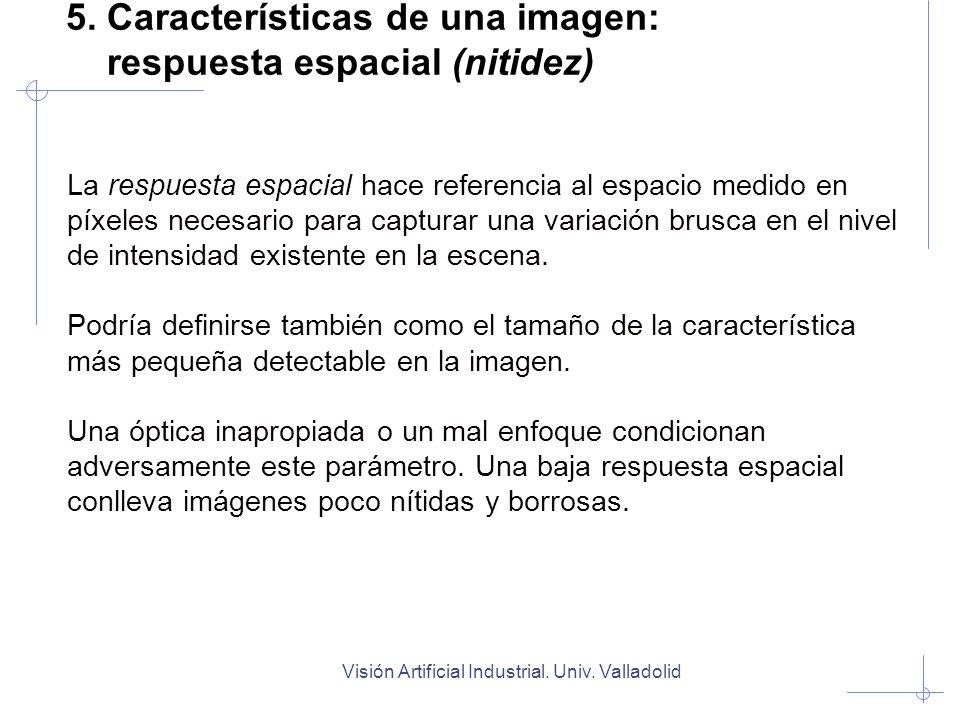Visión Artificial Industrial. Univ. Valladolid 5. Características de una imagen: respuesta espacial (nitidez) La respuesta espacial hace referencia al