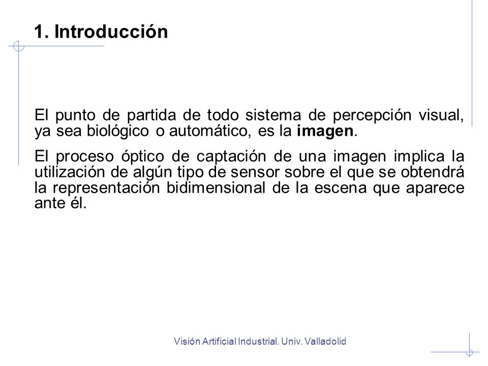 Visión Artificial Industrial. Univ. Valladolid 1. Introducción El punto de partida de todo sistema de percepción visual, ya sea biológico o automático