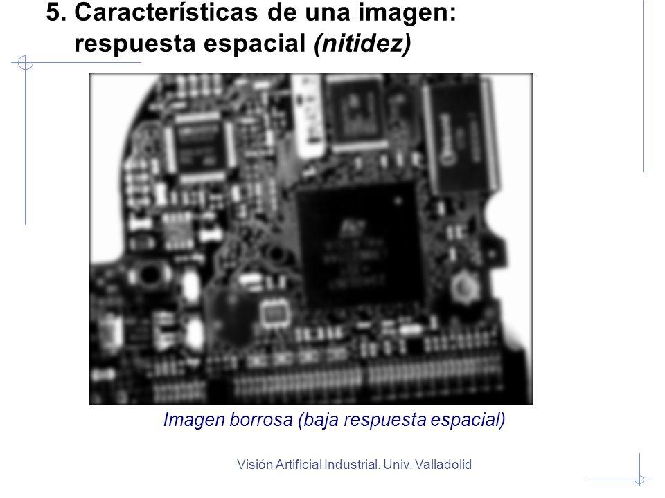 Visión Artificial Industrial. Univ. Valladolid 5. Características de una imagen: respuesta espacial (nitidez) Imagen borrosa (baja respuesta espacial)