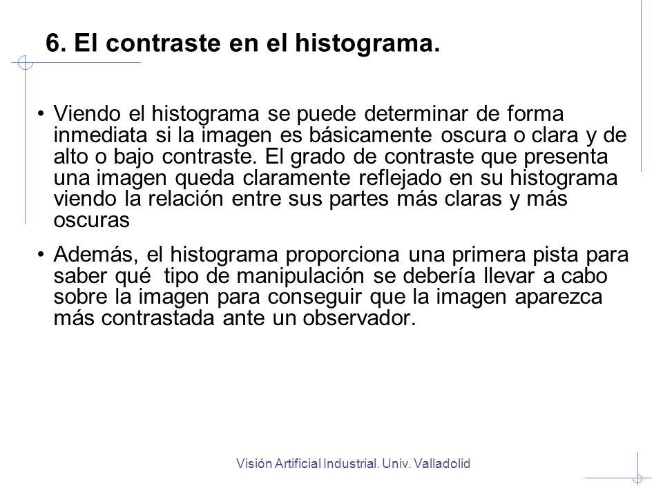Visión Artificial Industrial. Univ. Valladolid Viendo el histograma se puede determinar de forma inmediata si la imagen es básicamente oscura o clara