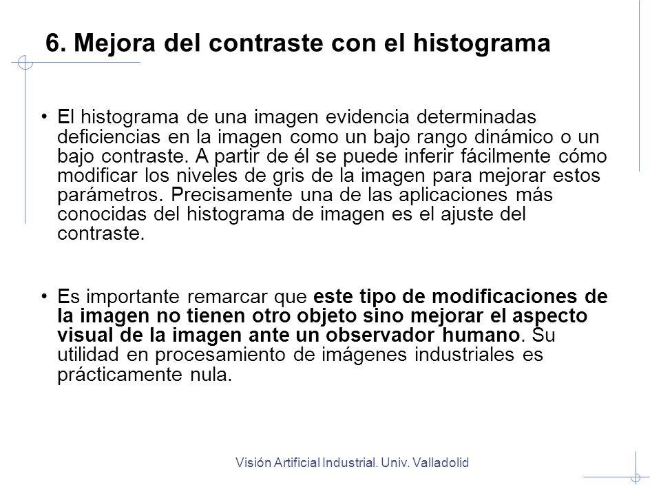 Visión Artificial Industrial. Univ. Valladolid El histograma de una imagen evidencia determinadas deficiencias en la imagen como un bajo rango dinámic