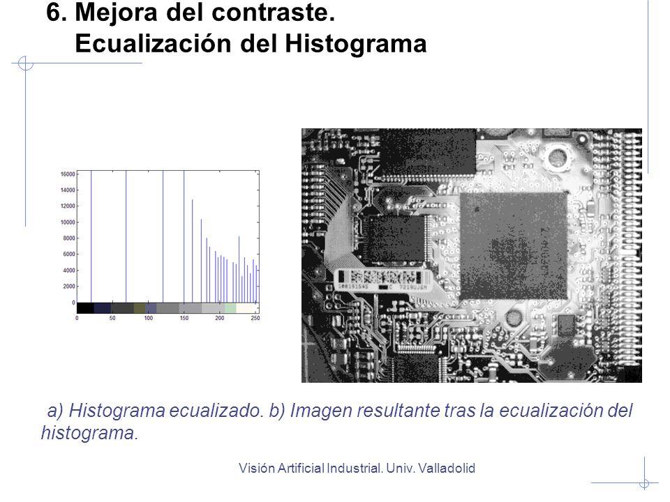 Visión Artificial Industrial. Univ. Valladolid 6. Mejora del contraste. Ecualización del Histograma a) Histograma ecualizado. b) Imagen resultante tra