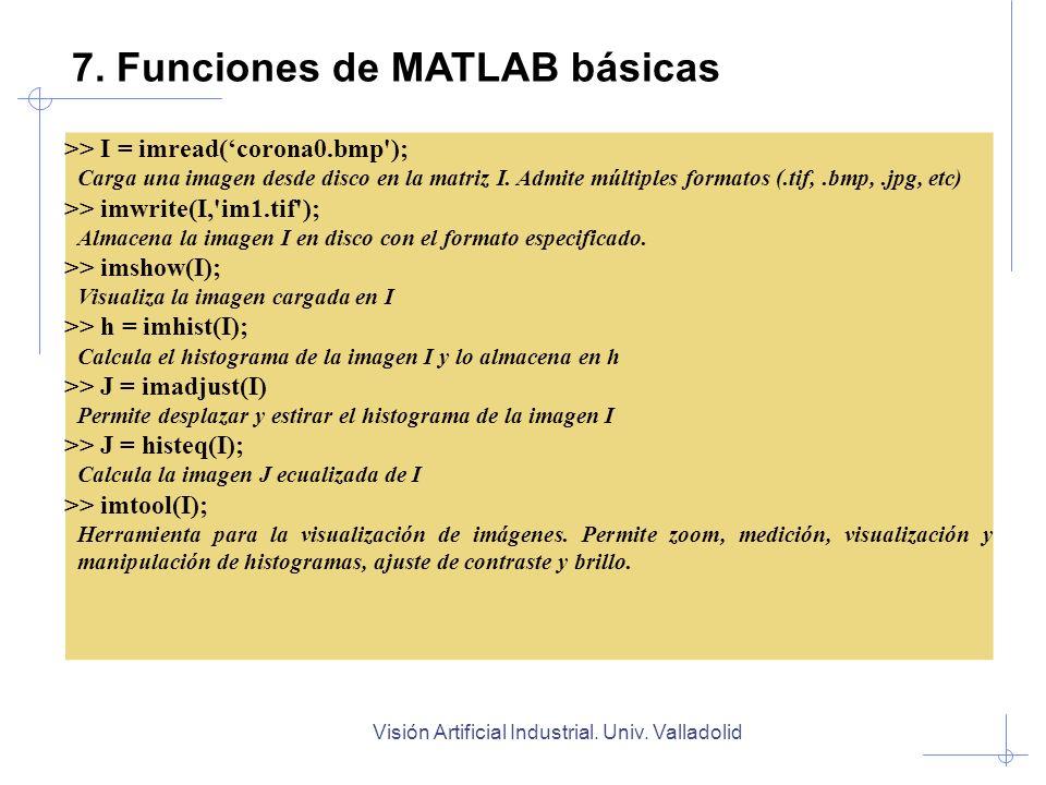 Visión Artificial Industrial. Univ. Valladolid 7. Funciones de MATLAB básicas >> I = imread(corona0.bmp'); Carga una imagen desde disco en la matriz I
