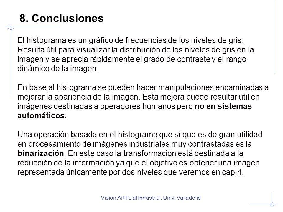 Visión Artificial Industrial. Univ. Valladolid 8. Conclusiones El histograma es un gráfico de frecuencias de los niveles de gris. Resulta útil para vi