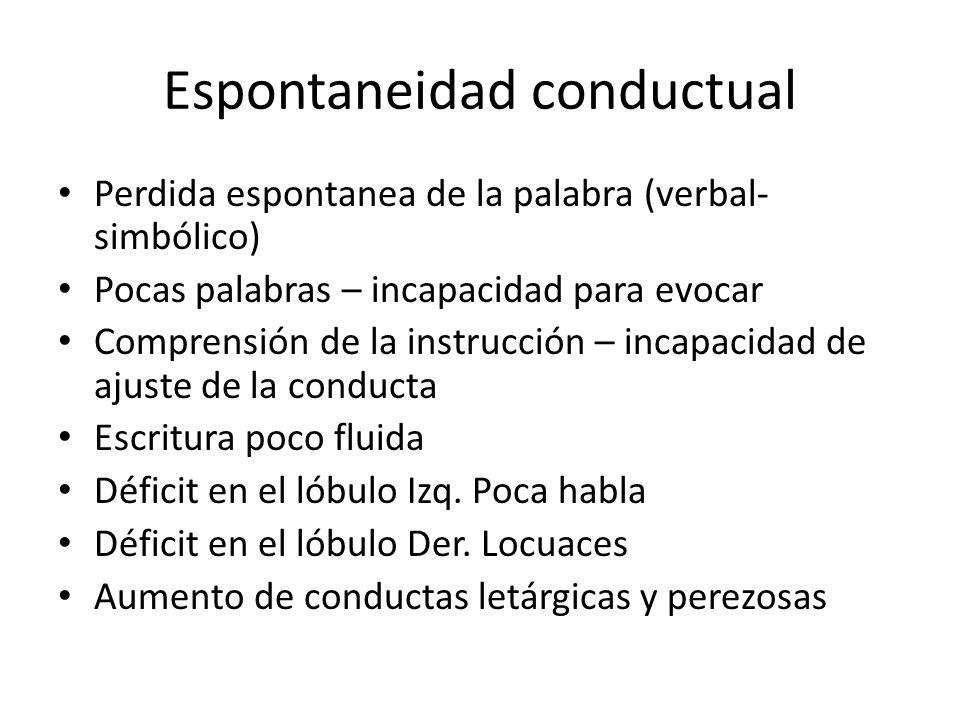 Espontaneidad conductual Perdida espontanea de la palabra (verbal- simbólico) Pocas palabras – incapacidad para evocar Comprensión de la instrucción –