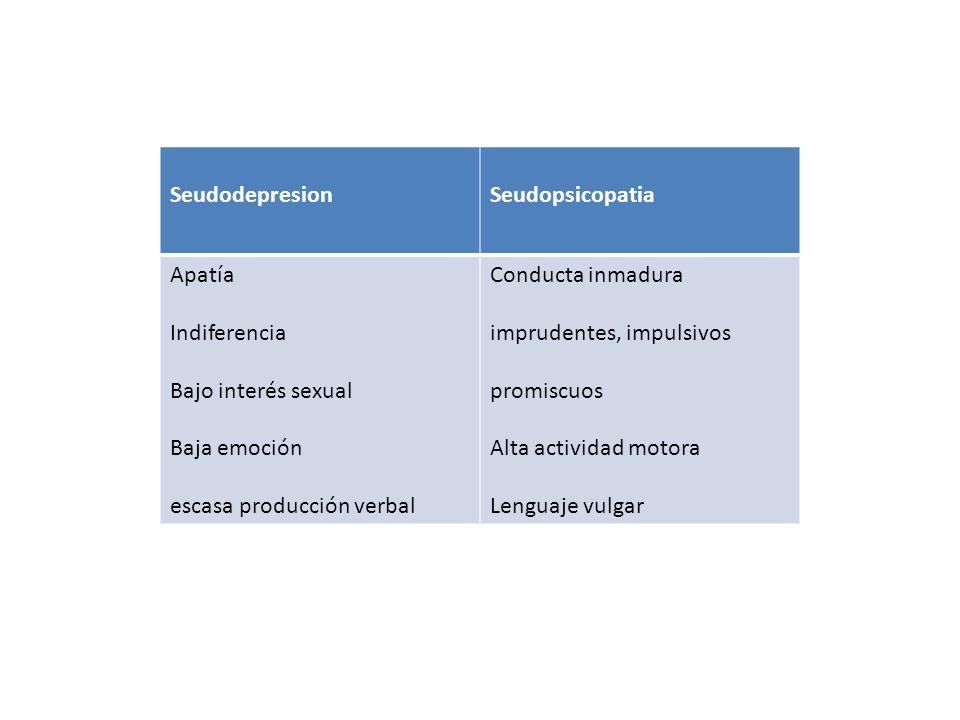 SeudodepresionSeudopsicopatia Apatía Indiferencia Bajo interés sexual Baja emoción escasa producción verbal Conducta inmadura imprudentes, impulsivos