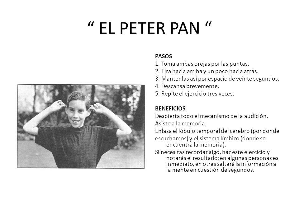EL PETER PAN PASOS 1.Toma ambas orejas por las puntas.