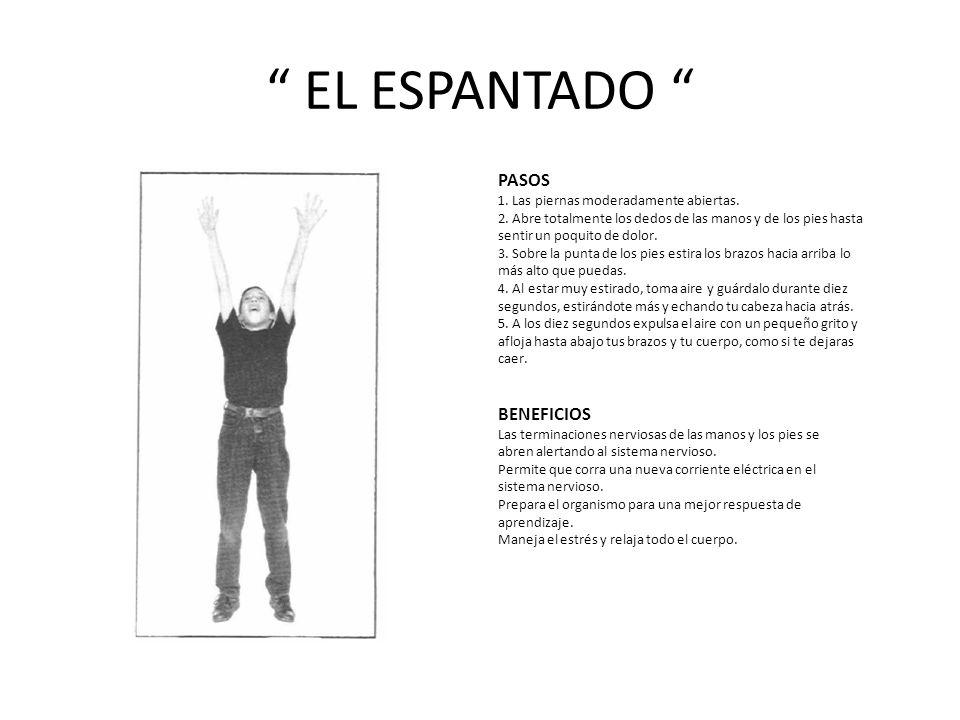 EL ESPANTADO PASOS 1.Las piernas moderadamente abiertas.