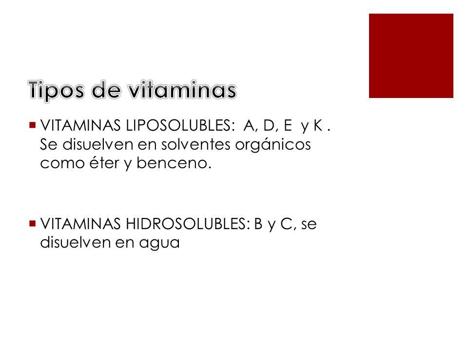 VITAMINAS LIPOSOLUBLES: A, D, E y K. Se disuelven en solventes orgánicos como éter y benceno. VITAMINAS HIDROSOLUBLES: B y C, se disuelven en agua