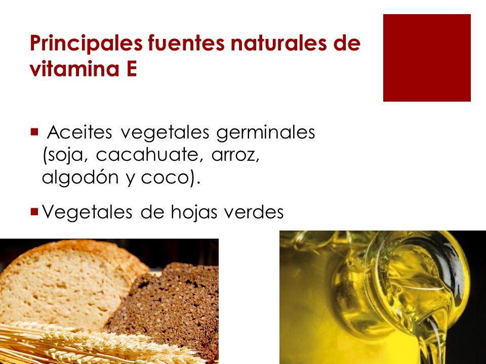Principales fuentes naturales de vitamina E Aceites vegetales germinales (soja, cacahuate, arroz, algodón y coco). Vegetales de hojas verdes Cereales