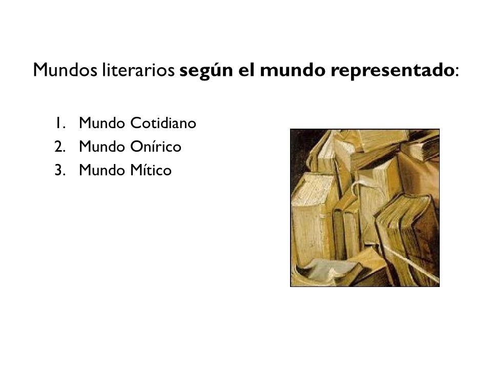 Mundos literarios según el mundo representado: 1.Mundo Cotidiano 2.Mundo Onírico 3.Mundo Mítico