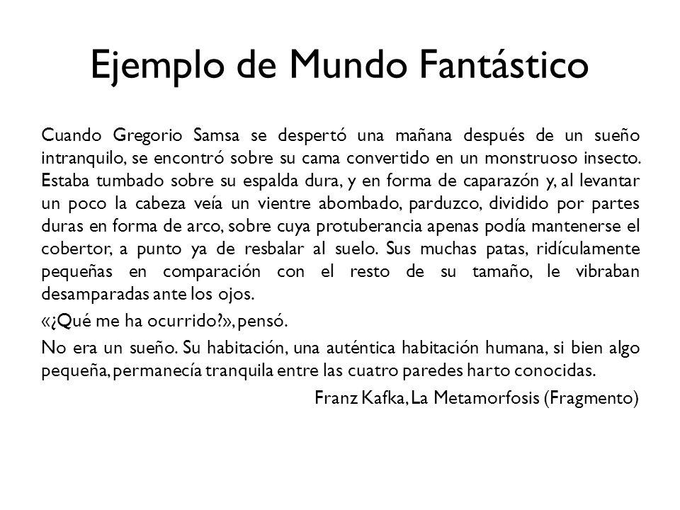 Ejemplo de Mundo Fantástico Cuando Gregorio Samsa se despertó una mañana después de un sueño intranquilo, se encontró sobre su cama convertido en un m