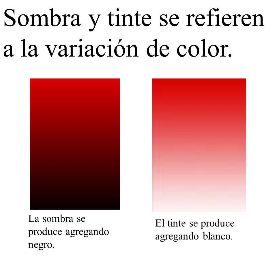 Sombra y tinte se refieren a la variación de color. El tinte se produce agregando blanco. La sombra se produce agregando negro.